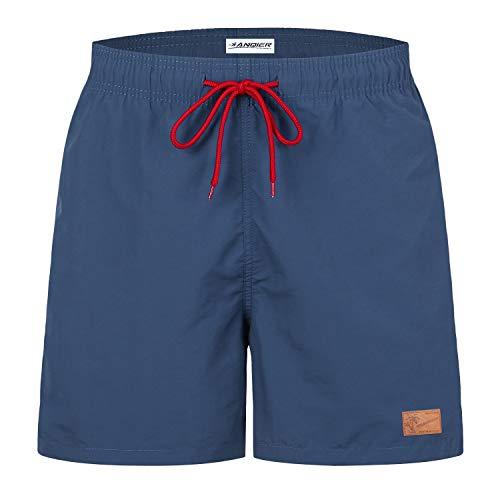 anqier Badehose für Herren Jungen Badeshorts für Männer Schnelltrocknend Surfen Strandhose Schwimmhose Strand Shorts mit Mash-Innenfutter (Purpurrotes Blau, XL)