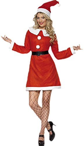 erdbeerloft - Damen Weihnachtsfrauen Kleid- Kleid mit Gürtel und Hut, M, ()