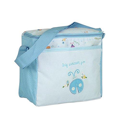 FakeFace Oxford Gewebe Cartoon 4er-Set Babytasche Wickeltasche Mutter Windeltasche Handtasche Schultertasche Flaschenhalter (Dunkelblau Wagen) Blau