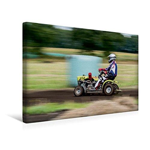 Premium Textil de lienzo 45cm x 30cm Cortacésped Racing–Diversión y Acción En El Horizontal de labranza, 45x30 cm