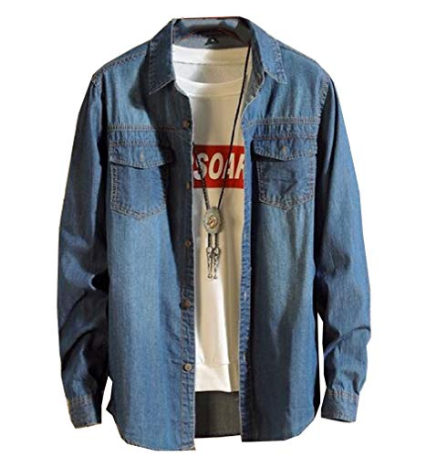 CuteRose Mens Long Sleeve Casual Leisure Vogue Slim Fit Juniors Denim Jacket Dark Blue L -