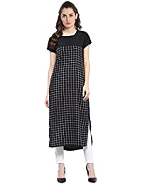 M.Tex Women's Black Color Cap Sleeve And Round Neck Crepe Kurti