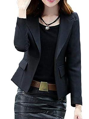 VaeJY Women Pure Color Coat Formal One Button Suit Blazer Jackets