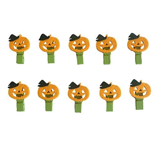 Amosfun 10Pcs Kürbis Holzklammern Halloween Kürbis Bilder Memo Inhaber Hinweis Card Nachricht Postkarte Pegs - Foto-hinweis-card-inhaber