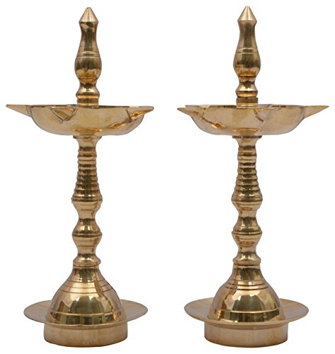 1st Home Brass Small Kerala Diya Set (10 cm x 4 cm x 18 cm, Golden, Pack of 2)