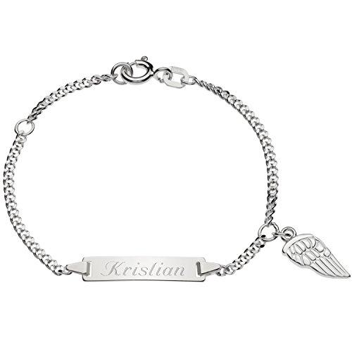 Schmuck-Pur Echt Silber Mädchenarmband Silberarmband Flügel 16cm mit Gravur