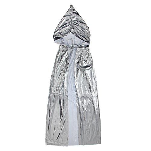 Sharplace Damen Herren Halloween Lange Leuchtende Umhang mit Kapuze Mantel Karneval Fasching Kostüm Gotische Hexe Kostüm Zubehör - Silber