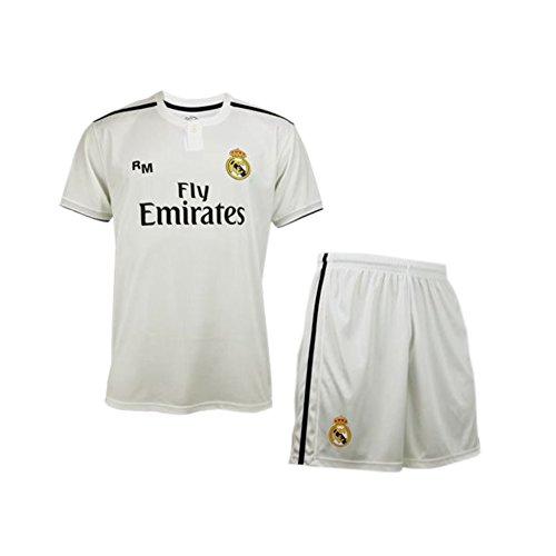Conjunto Camiseta y Pantalon 1ª Equipación 2018-2019 Real Madrid – Réplica Oficial Licenciado – Dorsal 7 Cristiano Ronaldo – Talla 12 – Medidas Pecho 45 – Largo Total 63 – Largo Manga 16,5 cm.