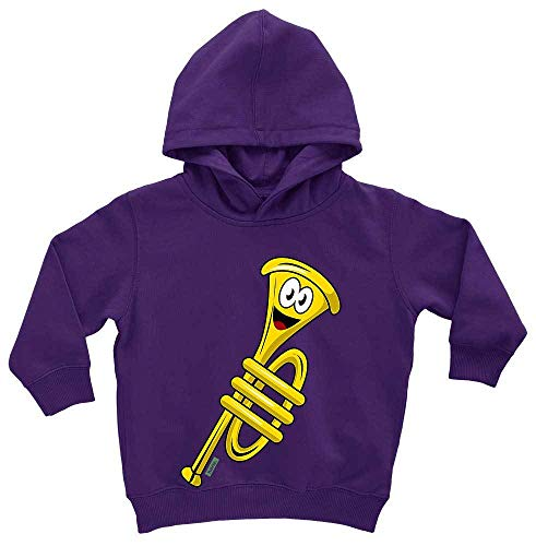 HARIZ Baby Hoodie Trompete Lachend Instrument Kind Lustig Inkl. Geschenk Karte Sternenstaub Lila 1-2 Jahre