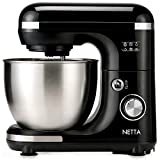 NETTA Food Stand Mixer 600W Tilt Head Food Blender Including Dough Hook, Whisk and A Beater, 7 Different Speed Settings, 5L Stainless Steel Mixing Bowl Inlcuding a Splash Guard.