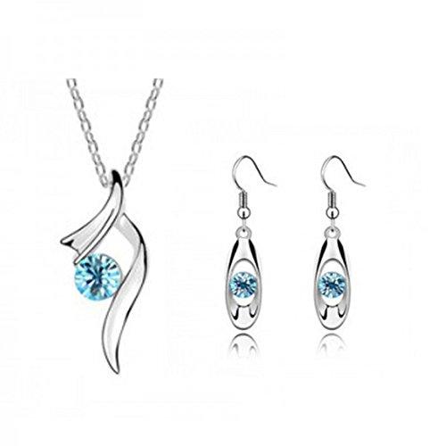 Parure cristal swarovski elements plaqué or blanc Bleu turquoise