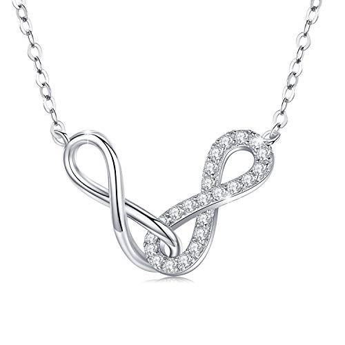 Unendlichkeit Kette Damen 925 Sterling Silber Infinity Anhänger Endless Love Kette Doppel Unendlichkeit Halskette Jahrestag Geburtstag Schmuck Geschenk für Mädchen