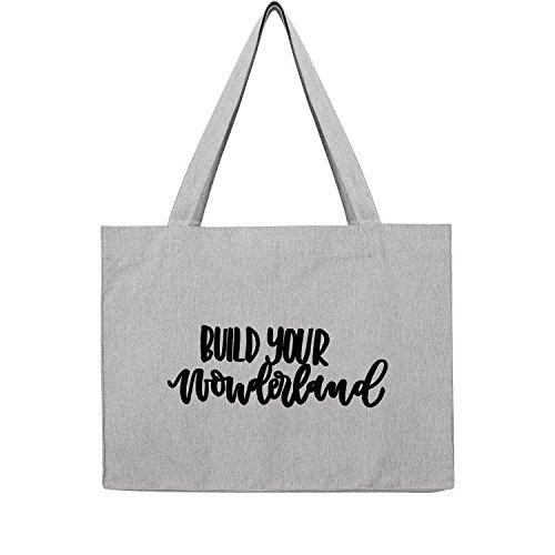 Fossil Grau T-shirt (build your wonderland Bag Frauen Shopper grau Jute Beutel Handtasche Strand Sommer faltbar groß bedruckt mit Motiv (386-U762-Grau))