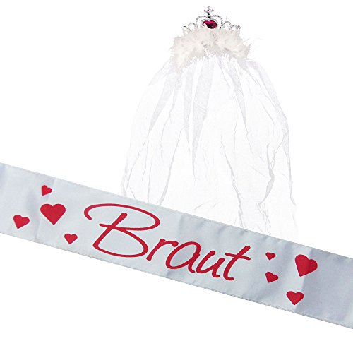 Partybob JGA Braut Kostüm-Set - Schärpe + Krone mit Schleier (Weiß)