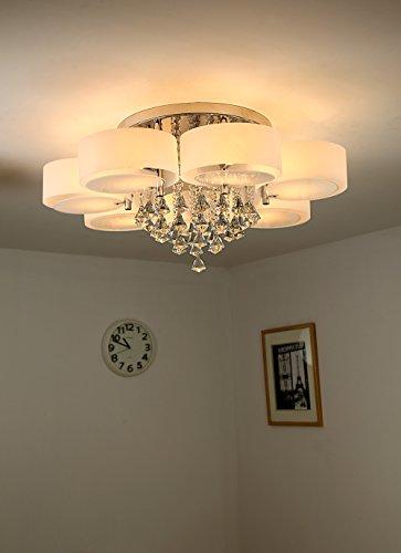 Natsen® 49W Kristall Deckenleuchte 7 Flammig LED E27 Warmweiß Ø90cm  Designer Wohnzimmer Lampe