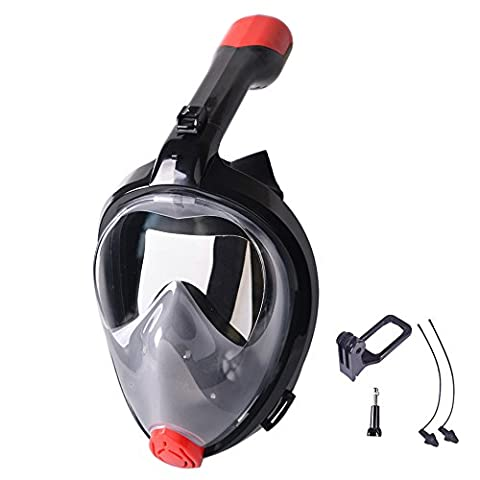 [New Version] VILISUN 180 Degree Panoramic Foldable Full Face Scuba Diving Mask with Free Breathing Design, Anti-fog and Anti-leak Technology, Compatible for GoPro Action Camera, Underwater Snorkeling Mask for Adult and Youth (Black New,