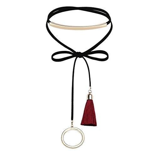 AnaZoz Frauen Choker Halskette Schwarz Samt, Rund Anhänger Elastisch Langer Quaste Halsketten für Damen, Rot