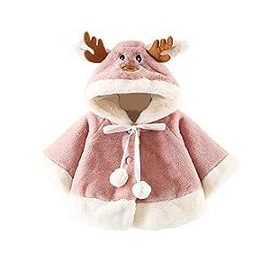 HCFKJ Ropa Bebe NiñA Invierno NiñO Manga Larga Camisetas BEB Conjuntos Moda Navidad Disfraz Ciervo Encapuchado Capa Capa…
