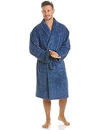 Robe de chambre pour homme polaire ultra douce col châlemotif zigzag bleu marine