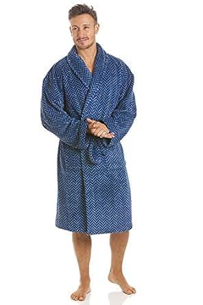 d6a1f783866 Robe de Chambre pour Homme Polaire Ultra Douce col châlemotif Zigzag ...