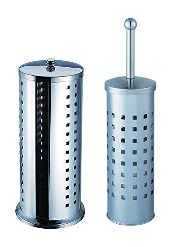 VARILANDO® Badezimmer-Set bestehend aus WC-Bürste mit Halter und Aufbewahrung für Toilettenpapier Rollenhalter WC-Bürsten-Set