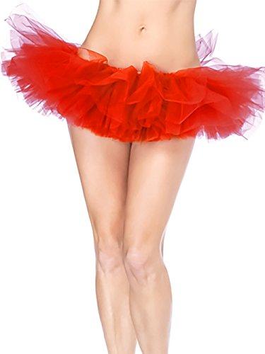 HENCY Adulto-Gonna tutù Retro sottogonna battenti Vintage Petticoat Fancy Net Gonna Rockabilly Tutu Rosso