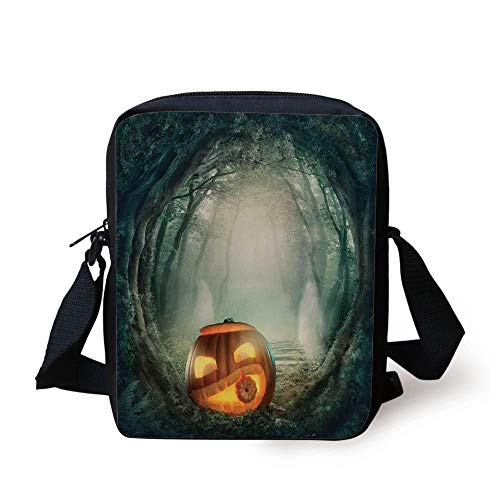LULABE Halloween Decorations,Scary Halloween Pumpkin Enchanted Forest Mystic Twilight Party Art,Orange Teal Print Kids Crossbody Messenger Bag Purse