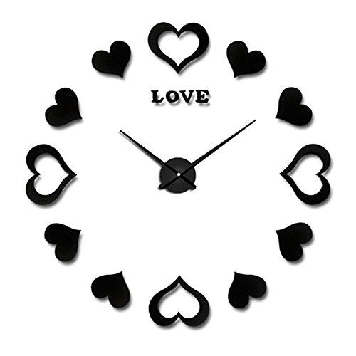 DIY Wanduhr Moderne Clock 3D Acryl Spiegel Metall Rahmenlose Wandaufkleber groß Uhren Style Raum Home Dekorationen Tolles Geschenk (Schwarz 2)