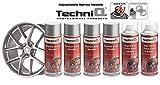 TechniQ - Kit di Vernice per Cerchi in Lega Metallica, 4 bombolette da 400 ml + 2 Rivestimenti Trasparenti Lucidi