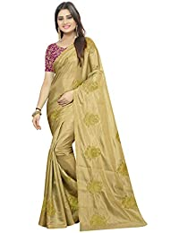 High Glitz Fashion Women's Paper Silk Saree With Blouse Piece (HGF1470 _Gold_ Free Size)