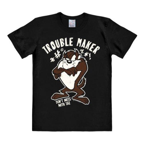 T-Shirt Tasmanian Devil - Looney Tunes - Taz Trouble - Original T-Shirt von LOGOSHIRT - schwarz - Lizenziertes Originaldesign, Größe (Toons Kostüme Looney)