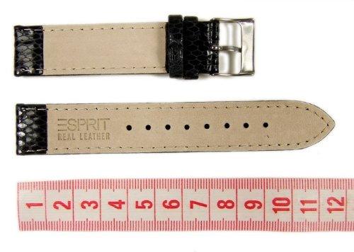 Esprit Uhrenarmband Leder Schlangenhaut-Optik mit Naht schwarz 18mm ES102662001