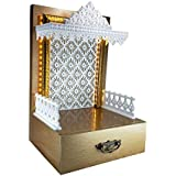 Sangam Ad WPC Wooden Temple with LED Light for Home & Office | Pooja Mandir (Size 12X10X18 LxWxH)