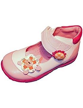 LEA LELO Zapato de Niña Material Piel. Suela de Goma. Cierre Fácil. Color Blanco con Rosa