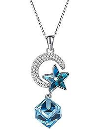 Avitalk - Collier Femme Fille Pendentif Diamant Rond Brillant Cœur Cristal  Belle Chic, Parures Bijoux Argent 925… ad2223cd016e