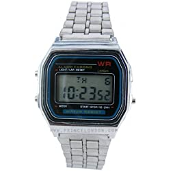 Silver Retro Digital stainless steel strap Watch