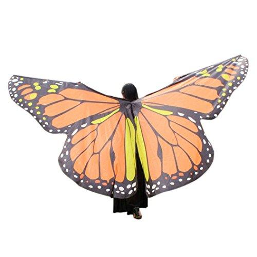 OVERDOSE Frauen 197 * 125CM Weiche Gewebe Schmetterlings Flügel Schal feenhafte Damen Nymphe Pixie Kostüm Zusatz (260 * 150CM, F-Yellow)