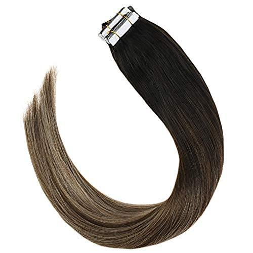 YoungSee Tape Extensions Echthaar 55 cm Balayage Schwarz zu Dunkelbraun mit Aschblond Tape in Kleber Extensions 100{15ad47f068fa4f15af598d36bb0f9023b85abaccae68cff36b25479e031ee4c4} Remy Human Hair 20pcs/50g