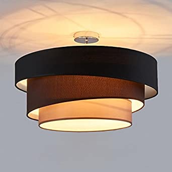 Deckenleuchte Runde Deckenlampe Decken Beleuchtung Wohnzimmer Schlafzimmer Esszimmer Kche Flur Licht Stoff Metall Lampe 3 Farbe Schwarz Braun Grau D56cm