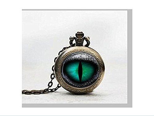 Reloj de bolsillo colgante de ojo de dragón en cristal, amuleto, joyería en plaqueta de vidrio, fotopop de ojos de dragón