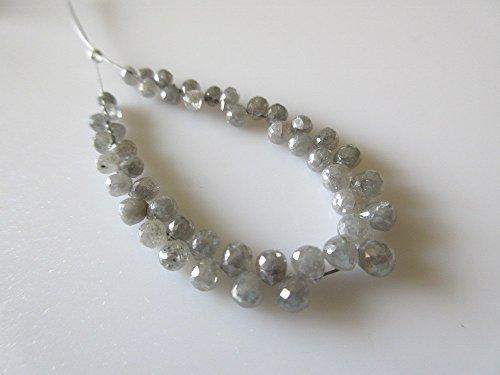 Vente en gros 45 pièces/gris Diamant à facettes goutte Argent 925/1000 perles/2.5 mm-4 mm chaque – Dds302