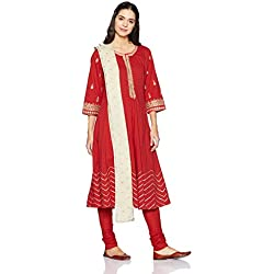 BIBA Women's Anarkali Salwar Suit (SKD5028_Red_34)