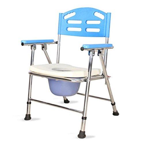 Toilettenstuhl, zusammenklappbar Leichte Aluminium-Badezimmer WC-Sitz Sitz/Behinderung, mit Top Loading leicht herausnehmbarer Topf Ältere Mobilität Hilfe Kommode Stuhl -