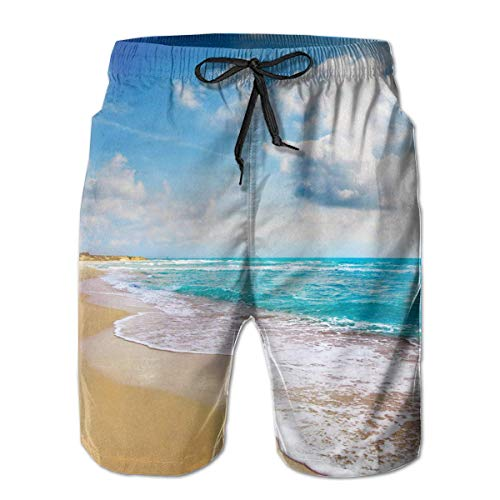 Nacasu Men's Swim Trunks Group of Tropical Beach Sand Blue Casual Sportswear Quick Dry Beach Shorts for Boys Summer L Childrens Place Blue Jean