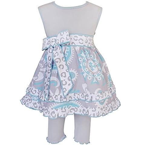AnnLoren Baby Girls 24 mo Blue & Gray Floral Dress