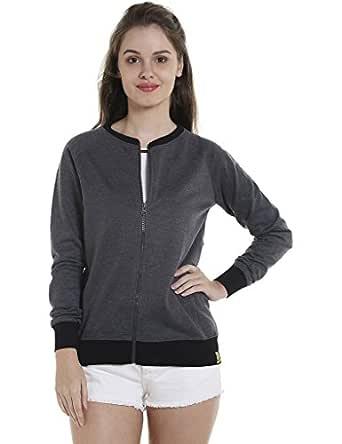 Campus Sutra Women's Zipper Hoodie (AZW17_ZHBDR_W_PLN_CHBL_AZ_S)