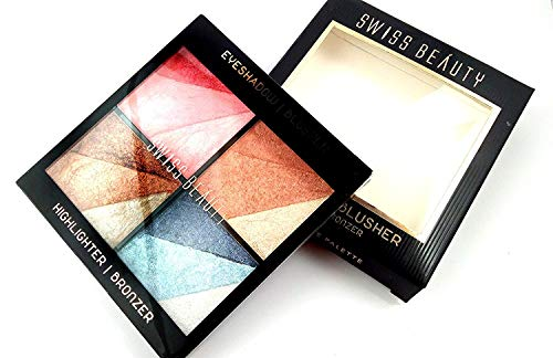 Swiss Beauty Highlighter, Bronzer, Eyeshadow and Blusher 4 In 1 Kit (Multicolour)