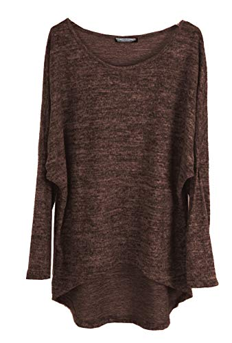 Emma & Giovanni - Pullover/T-Shirt Oversize - Damen (42/44 (Etikett XL), Schokolade)