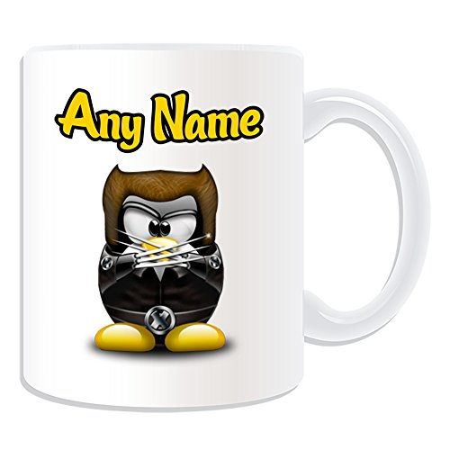 Personalisiertes Geschenk–James Howlett Tasse (Pinguin Film Charakter Design Thema, weiß)–Jeder Name/Nachricht auf Ihre Einzigartiges–Kostüm Film Superheld Hero Marvel Comics Avengers X-Men Logan (Kostüm Howlett)