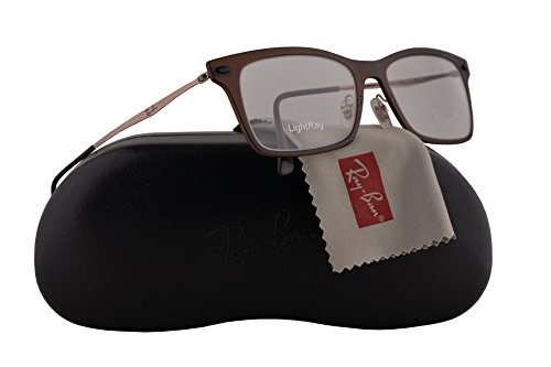 Ray-Ban unisex-adult RX7039 Brillen 53-18-140 w/Demo klare Linsen 5450 RX 7039 RB 7039 RB7039 Dunkel Matt Brown groß